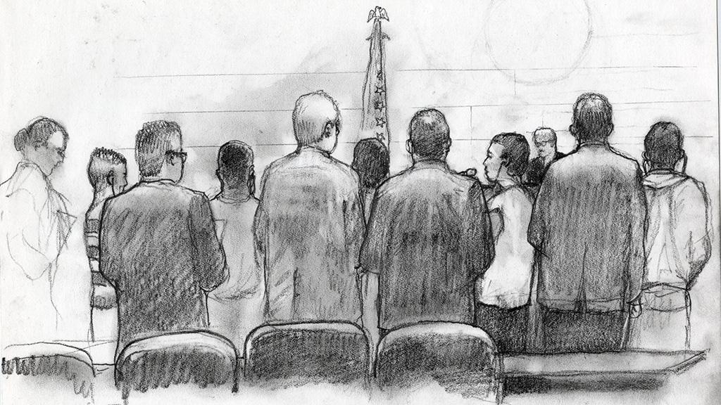 Group of Male Inmates Awaiting Sentencing, Sketch by Lawrence Gipe, circa 2012-2014