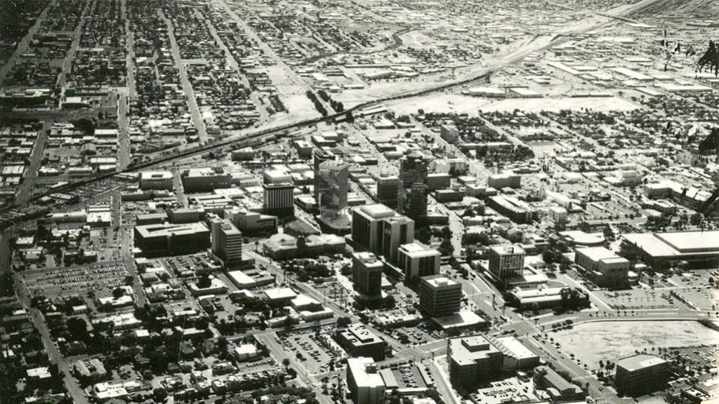 Aerial Photograph of Downtown Tucson, circa 1970
