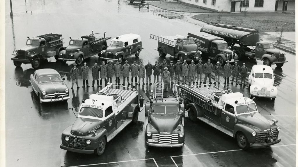 Members and vehicles of the Rural/Metro Fire Department.