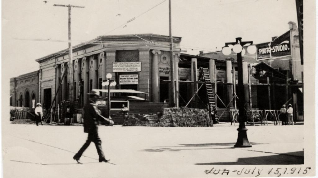 Bank Building on the Southwest Corner of Congress Street and Stone Avenue, Tucson, Arizona, July 15, 1915