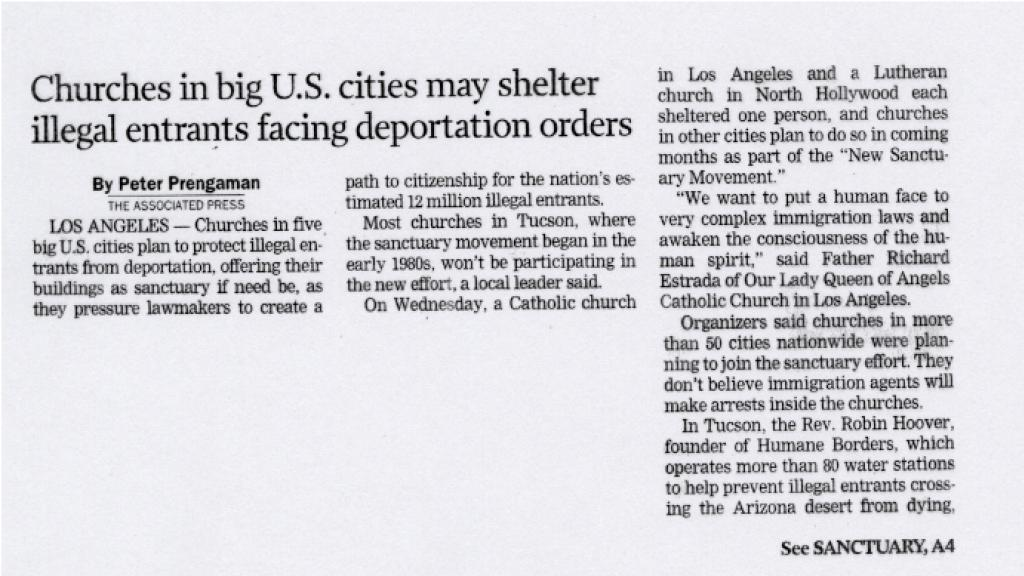 Tucson is Out of Sanctuary Loop Article, May 10, 2007
