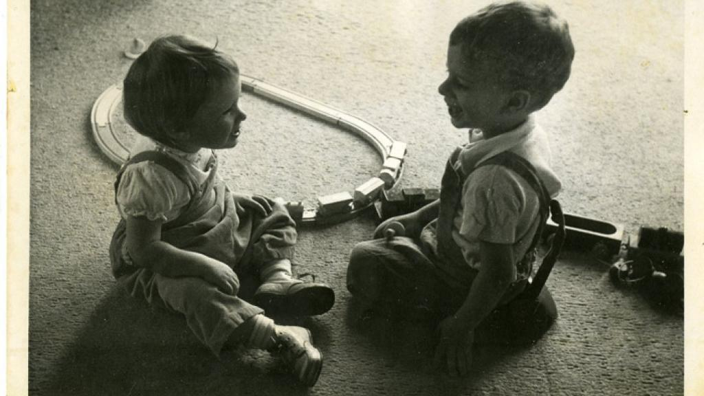 Children Playing with a Train Set