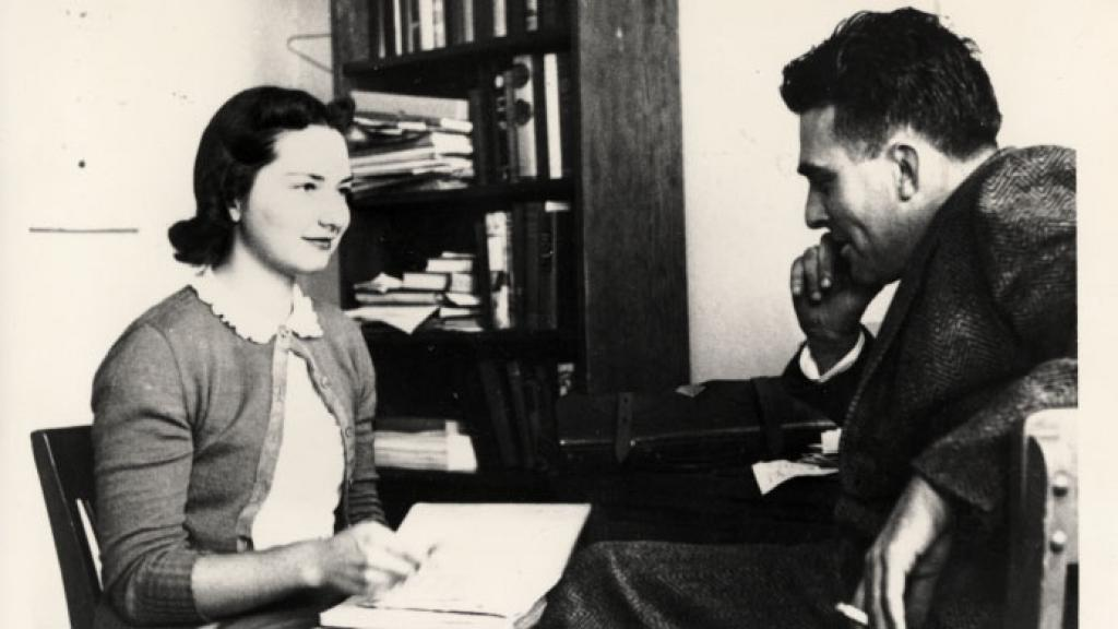 Richard Summers Speaking to Unidentified Woman, undated