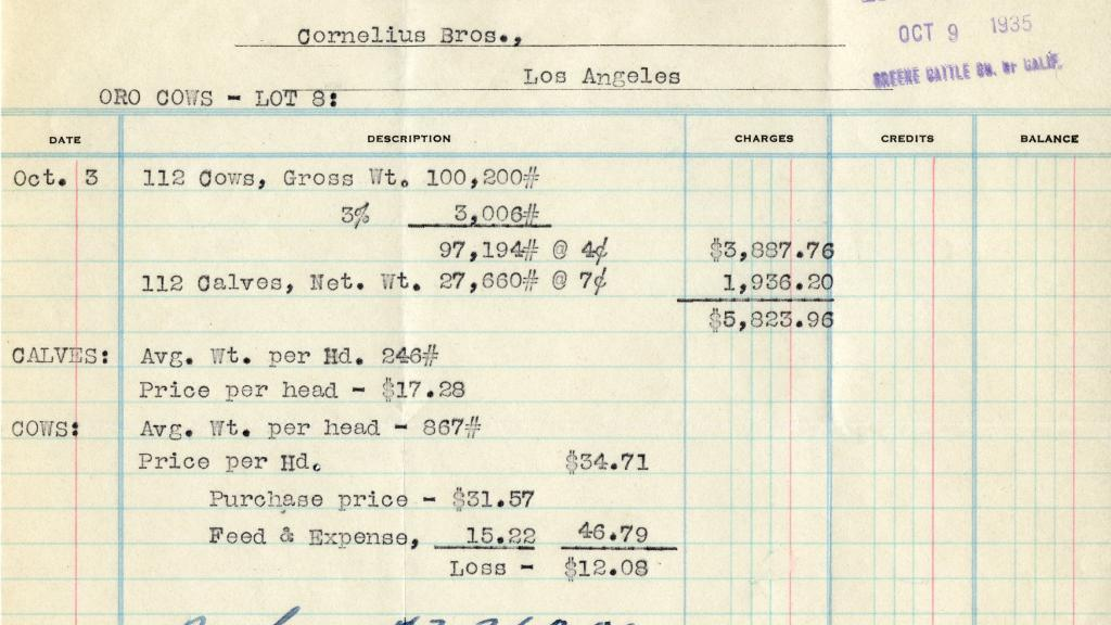 Purchase Order from San Pasqual Land and Cattle Co.