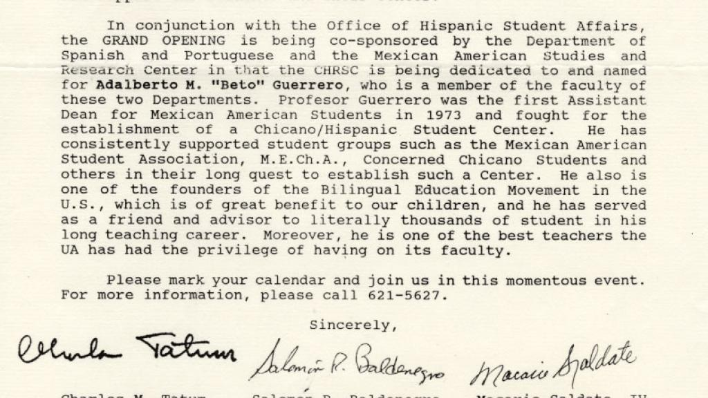 Correspondence Discussing Hispanic Student Affairs Center Grand Opening, October 7, 1991