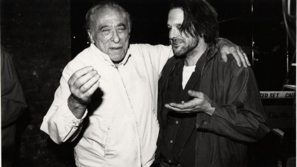 charles bukowski and mickey rourke on the set of barfly