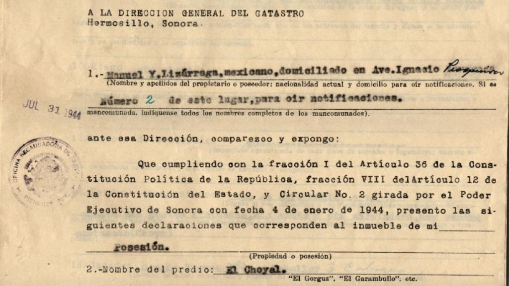 Manifestacion de Inmuebles Rusticos, July 31, 1944