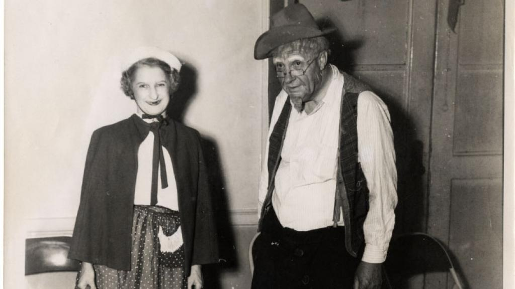 "Dot Hurrey and Rusty Williams Dressed as the ""Old Man"", 1954"