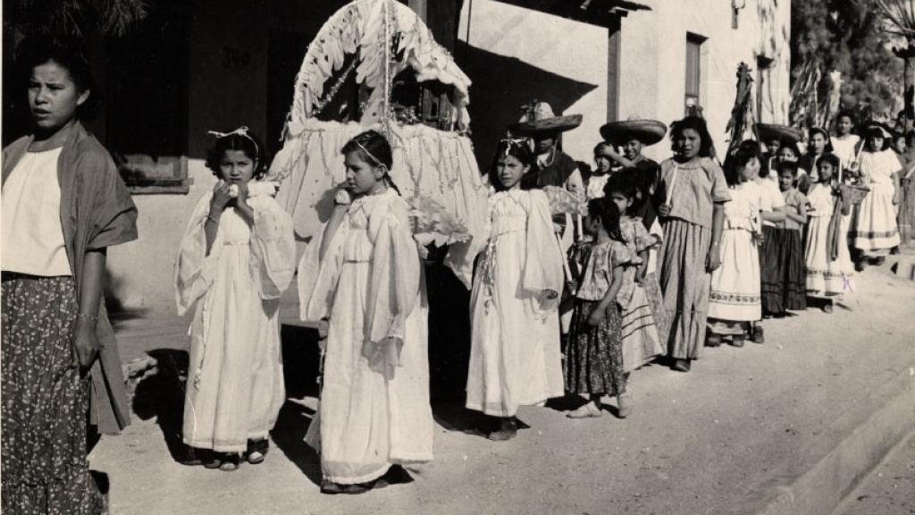 Children of the Mexican Folklore Club Reenacting Las Posadas Procession, 1959