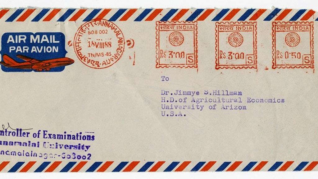 Envelope Mailed from India Addressed to Dr. Jimmye S. Hillman, 1988