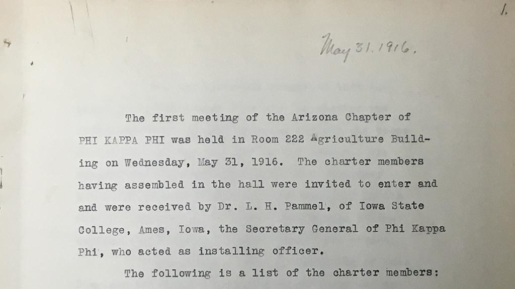 Minutes from the first Phi Kappa Phi meeting, May 31, 1916
