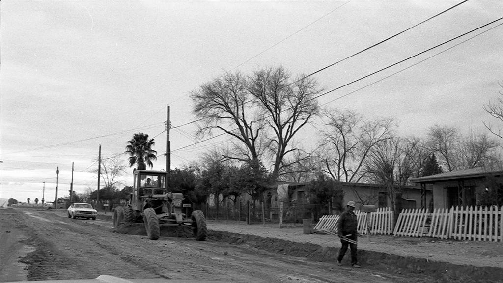 View of road construction.
