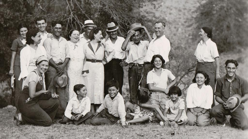 Group portrait outside, Bustamante Family