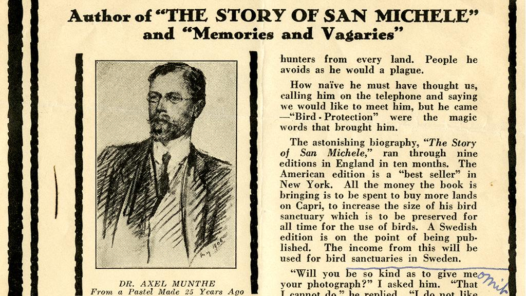 "Review of ""The Story of San Michele"", circa 1930"