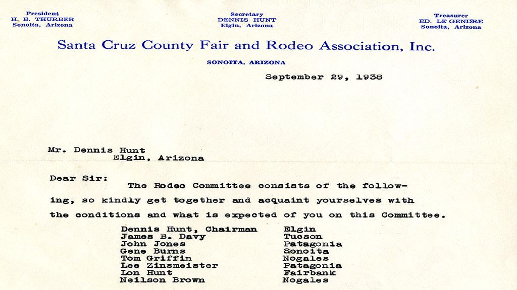 Dennis Hunt, rodeo committee letter