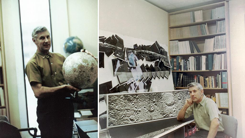 Ewen Whitaker with moon globe and photographs