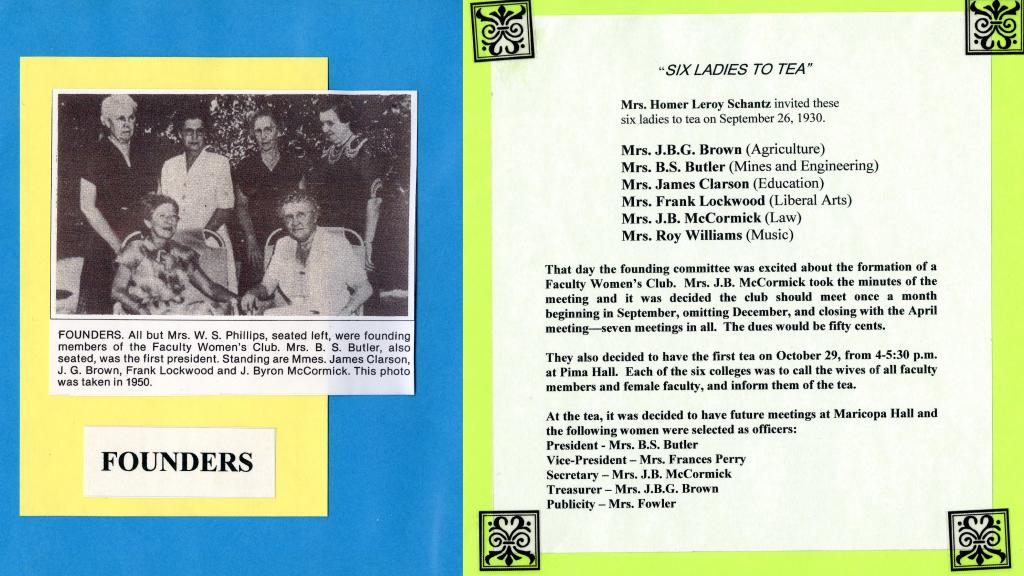 Pages from the University of Arizona Faculty Women's Club scrapbook