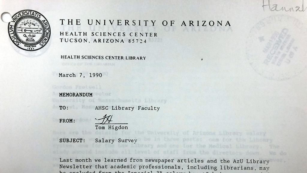 AHSL Library Faculty Assembly correspondence, 1990