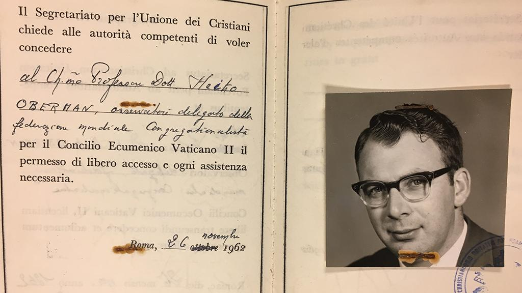 Heiko Oberman's Vatican II passport, November 26, 1962