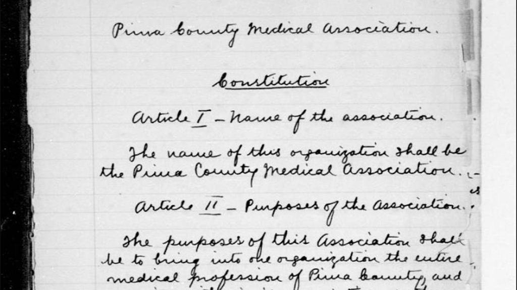 Constitution, Minutes of the Pima County Medical Society, 1904