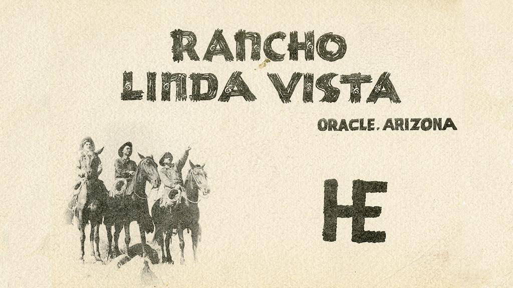 Text with graphic of people riding horses with cattle brand logo.