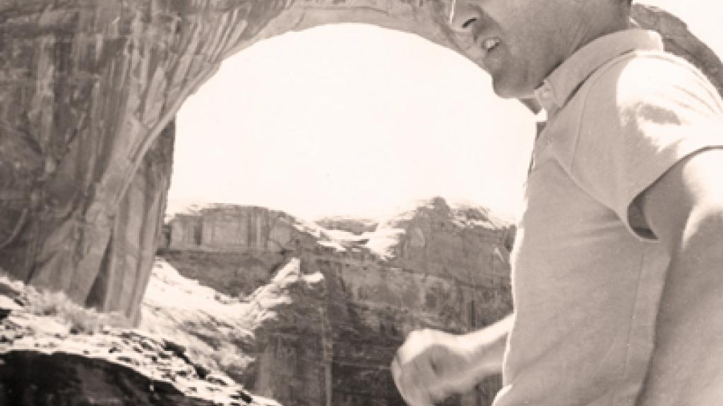 Photo of Stewart Udall touring Rainbow Bridge, Glen Canyon National Park, Utah, April 1961