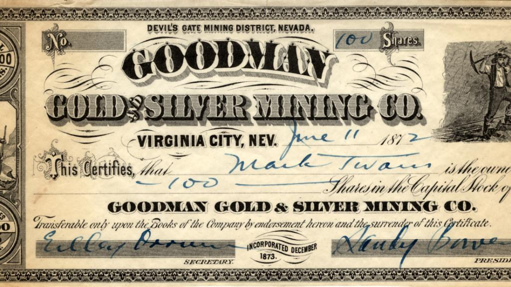 Goodman Gold & Silver Mining Company Stock Certificate Issued to Mark Twain, June 11, 1872