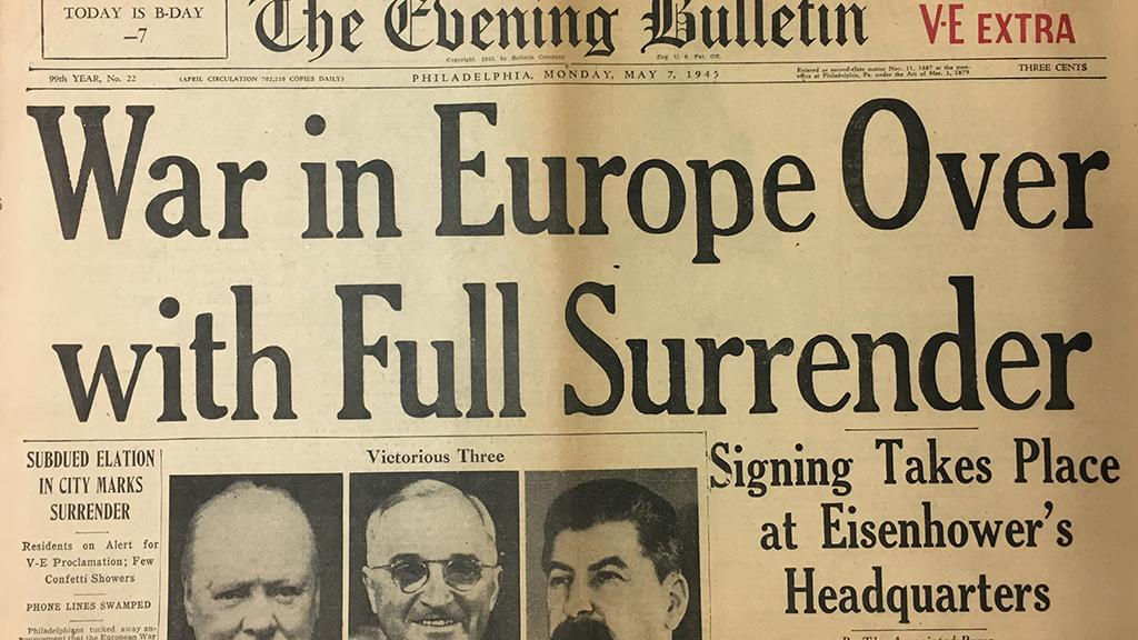 War in Europe Over with Full Surrender, front cover of newspaper, 1945