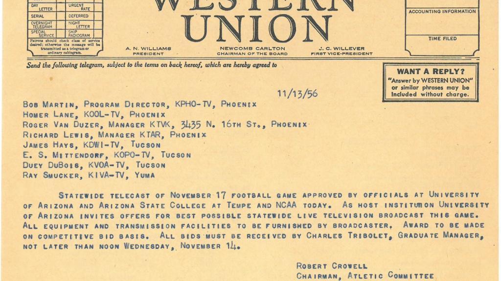 UA vs. ASU Football Broadcast Bid Telegram, November 13, 1956