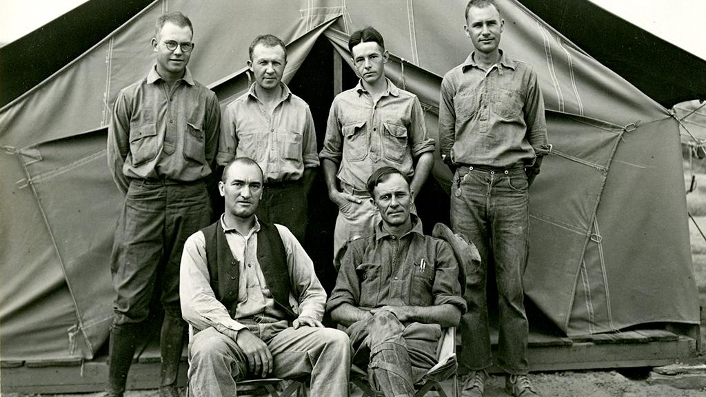 Archaeologist Karl Ruppert with colleagues