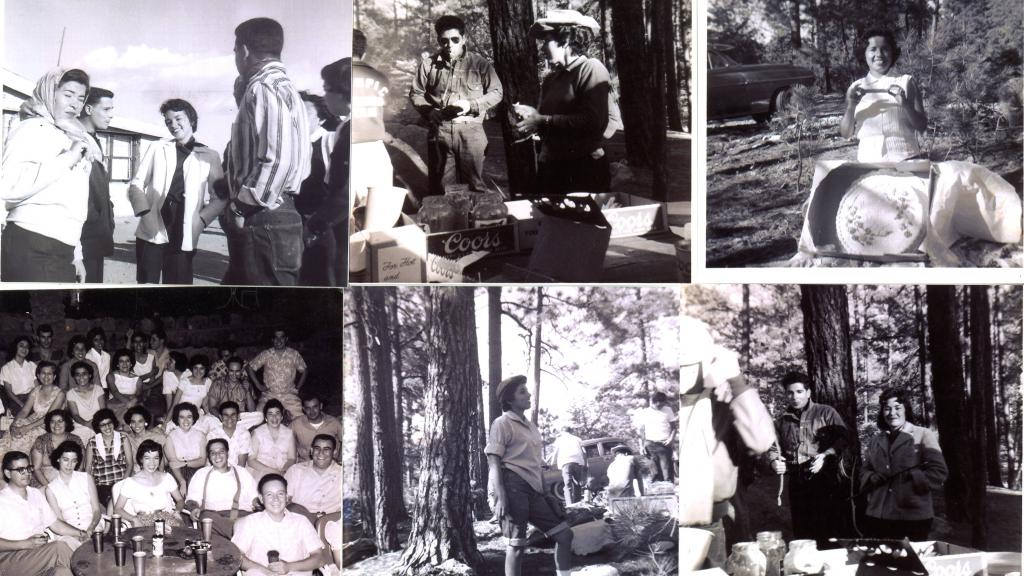 Photographs of the Los Universitarios Club at different social and dinner events, including a camping trip.