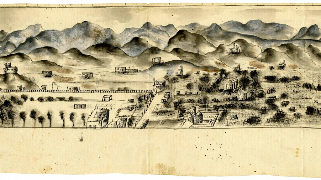 [Bird's eye view of unknown village in Mexico]