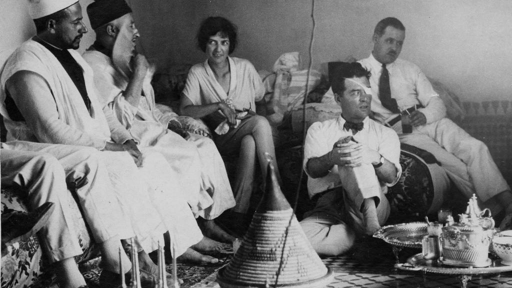 Rosemary Drachman with American war correspondent Floyd Gibbons in Morocco covering the Riff War, 1925