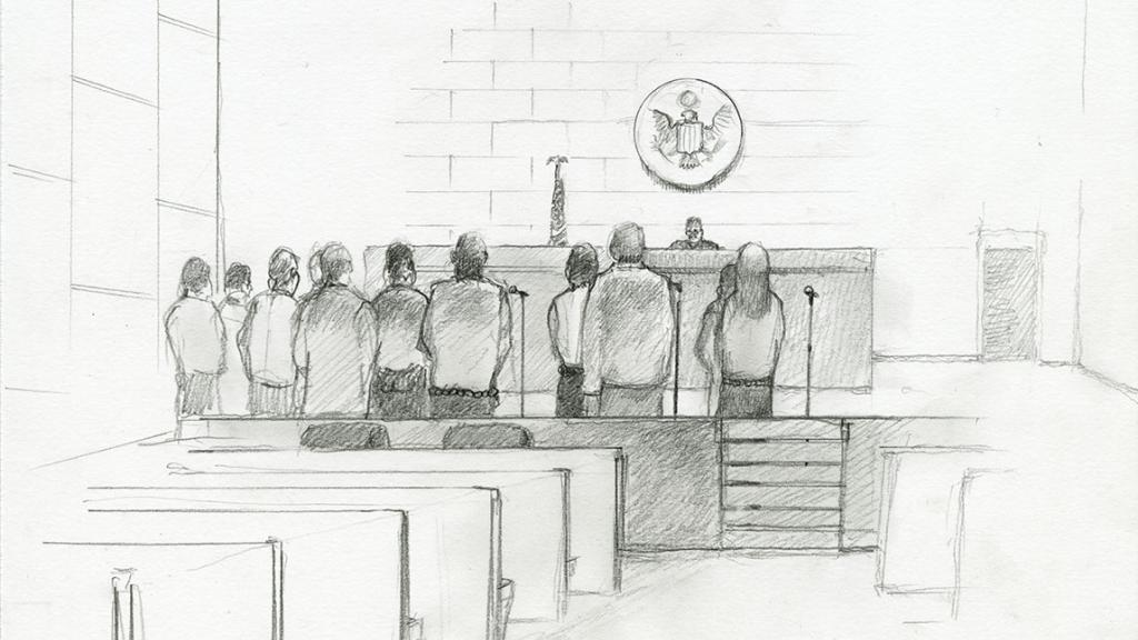 Sketch by Lawrence Gipe of a Court Proceeding