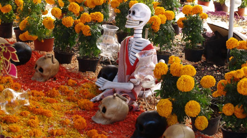 Marigolds and calaveras and El Dia De Los Muertos