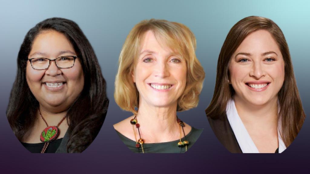 Headshots of Gabriella Cázares-Kelly, Heidi Osselaer, and Lisa M. Sanchez