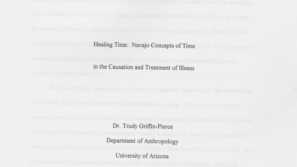 Healing Time: Navajo Concepts of Time in the Causation and Treatment of Illness