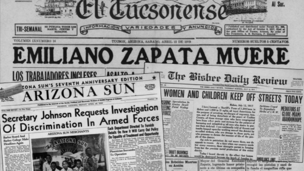 newspaper banners from El Tucsonense, Arizona Sun, and The Bisbee Daily Review