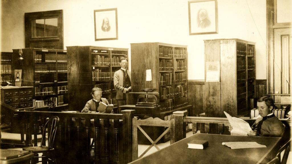 Unidentified Students in the Library in the Northwest Corner of Old Main, 1899
