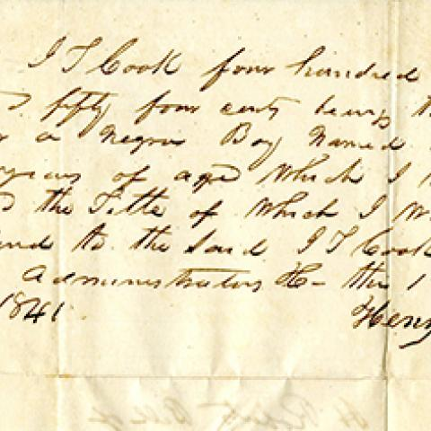 Note from Henry Roberts Concerning a Slave