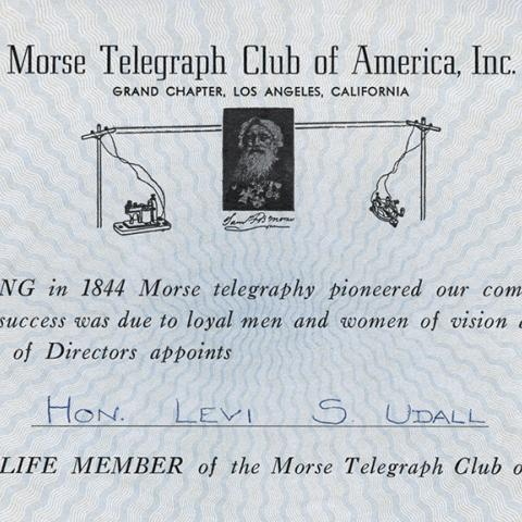 Certificate of Life Membership in the Morse Telegraph Club of America, undated