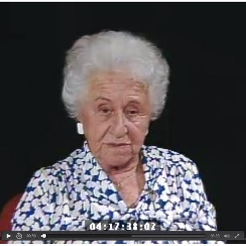 Still image from the Holocaust testimony of of Erna S. from the Jewish Federation of Southern Arizona Holocaust testimony videocassettes, 1989.