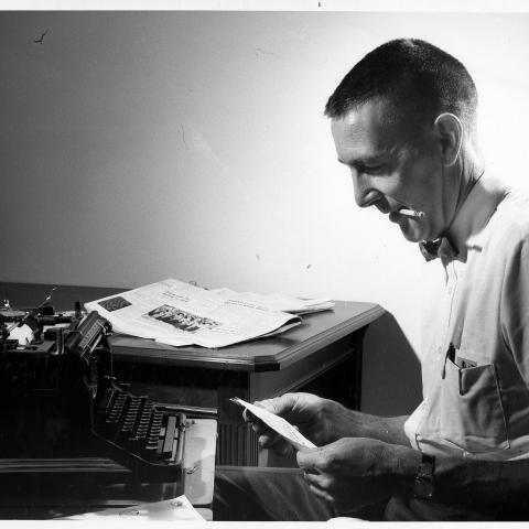 Mo Udall and favorite typewriter