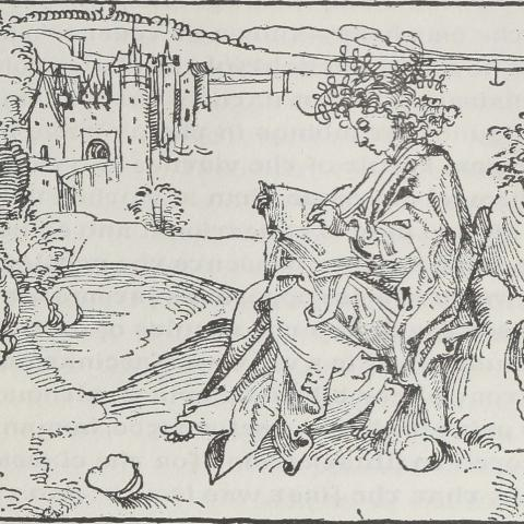 Artwork of a woodcut by Albrecht Durer