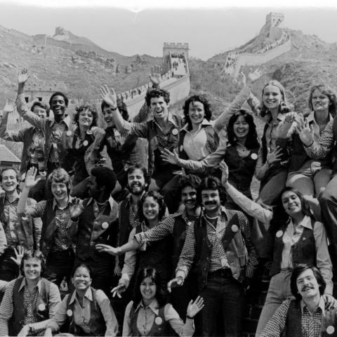 Photo of Up with People cast at Great Wall of China, 1978